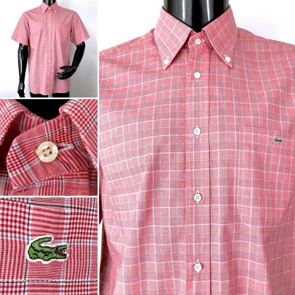 8a038c1098dcb Lacoste men's large red button front shirt